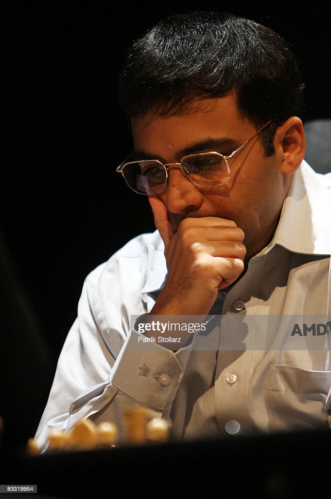 Indian chess world champion <a gi-track='captionPersonalityLinkClicked' href=/galleries/search?phrase=Viswanathan+Anand&family=editorial&specificpeople=639502 ng-click='$event.stopPropagation()'>Viswanathan Anand</a> concentrates during his match against the Russian chess grandmaster Vladimir Kramnik on October 17, 2008 in Bonn, Germany.