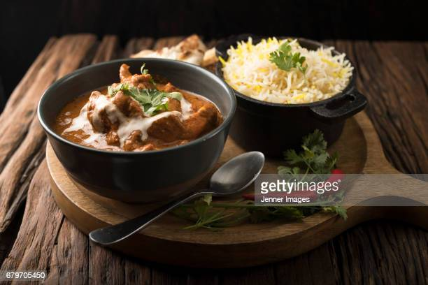 Indian Chicken Curry Meal.