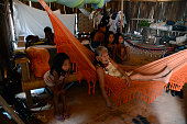 Indian Chief Raoni Metuktire of the Kayapo tribe in the Amazon prepares to leave his village for a trip to Europe to campaign against the...