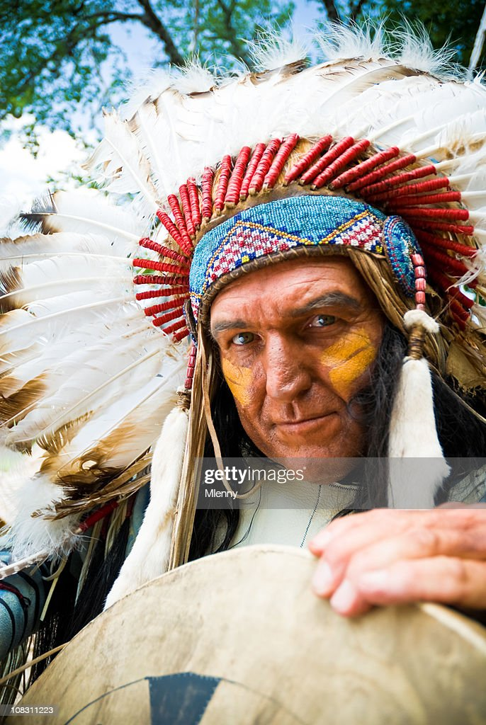 Indian Chief with Feathered Headdress
