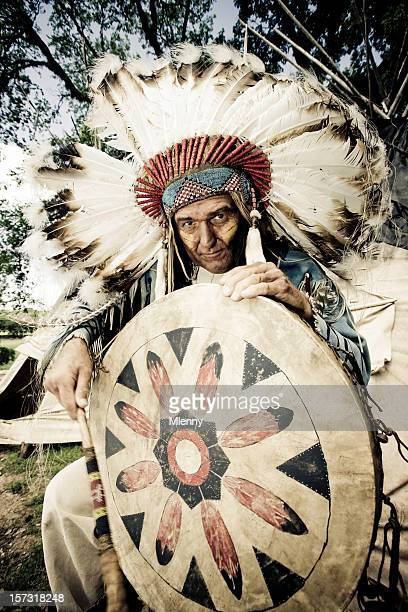 Indian Chief with Traditional Drum