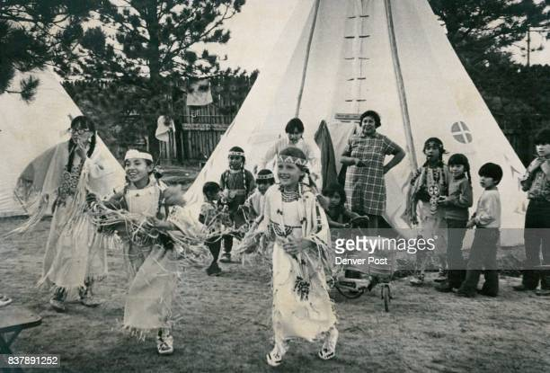 Indian Children Practice their Indian Dance at Tepee Village The children earn about half the $130 paid women for 14 days of work at Frontier Days...