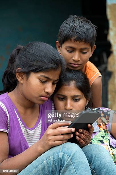 Indian children using tablet device