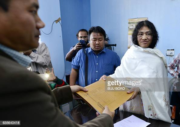Indian civil rights activist and Peoples Resurgence and Justice Alliance part candidate for the state assembly elections Irom Sharmila poses for a...