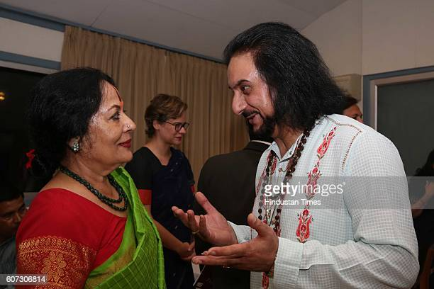Indian classical dance exponent Sonal Mansingh and Pandit Bhajan Sopori during a press conference of Namaste France and meet some artists to...