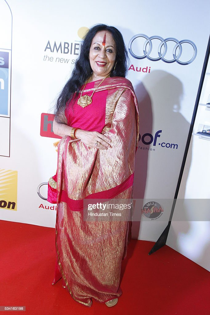 Indian classical dancer Sonal Mansingh arriving at red carpet for Hindustan Times Most Stylish Awards 2016 at hotel JW Marriot, Aerocity on May 24, 2016 in New Delhi, India.