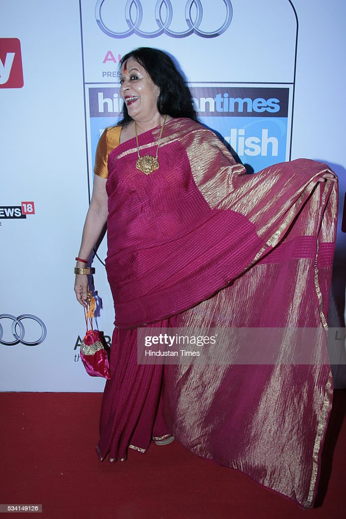 Indian classical dancer Sonal Mansingh arriving at red carpet forHindustan Times Most Stylish Awards 2016 at hotel JW Marriot, Aerocity on May 24, 2016 in New Delhi, India.