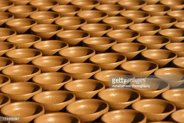 Indian clay oil lamps