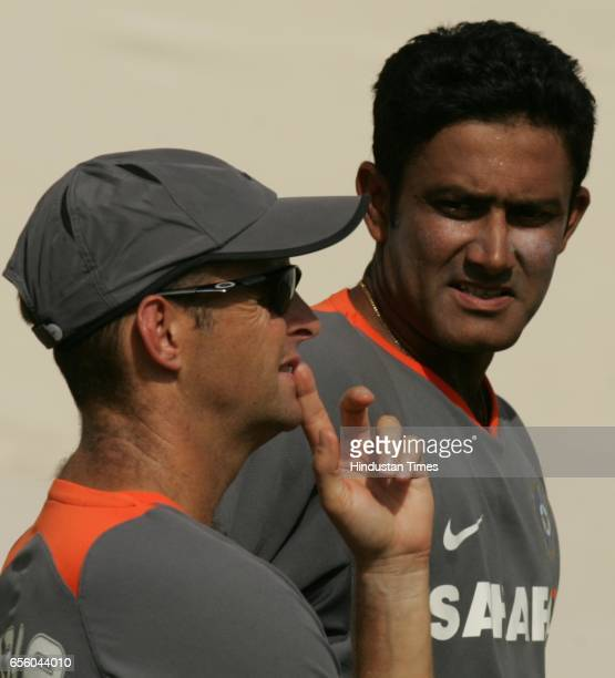Indian coach Gary Kirsten and captain Anil Kumble during Indian cricketer net practice session prior to their second test match against South Africa...