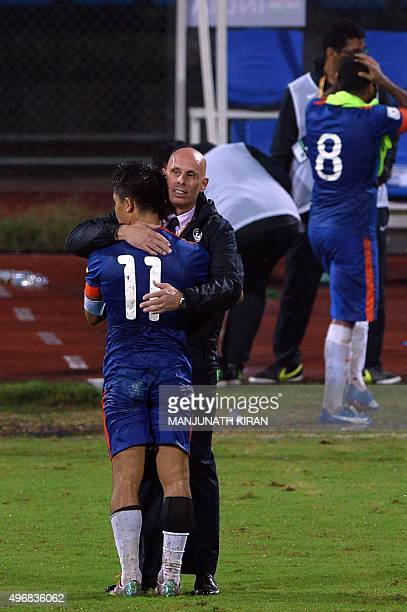 Indian coach Stephen Constantine hugs player Sunil Chhetri after India won 10 during the the Asia Group D FIFA World Cup 2018 qualifying football...