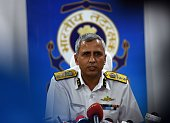 Indian Coast Guard Region Commander Inspector General Rajan Bargotra speaks to media as a search and rescue operation for a missing Indian Airforce...