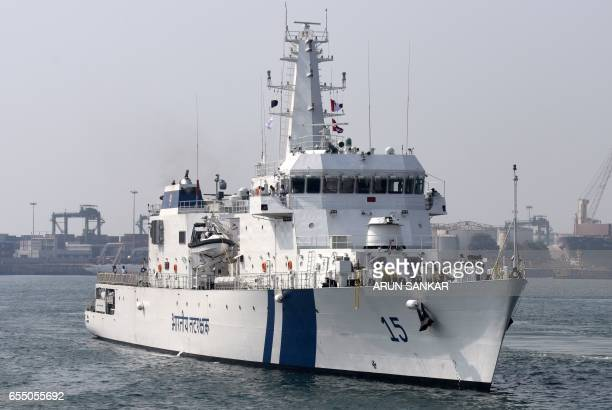 Indian Coast Guard Ship Shaunak a new offshore patrol vessel arrives at port in Chennai on March 19 making her maiden visit after commissioning into...