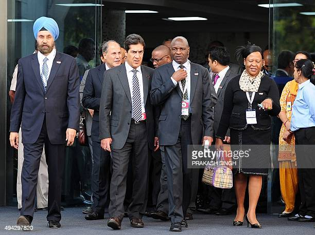Indian CoChair of the Senior Official meeting Navtej Sarna arrives for a group photograph with other summit officials during the Third IndiaAfrica...