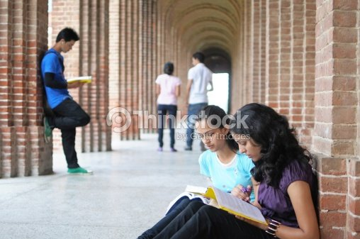 Indian College Students Preparing For Examination Stock Photo