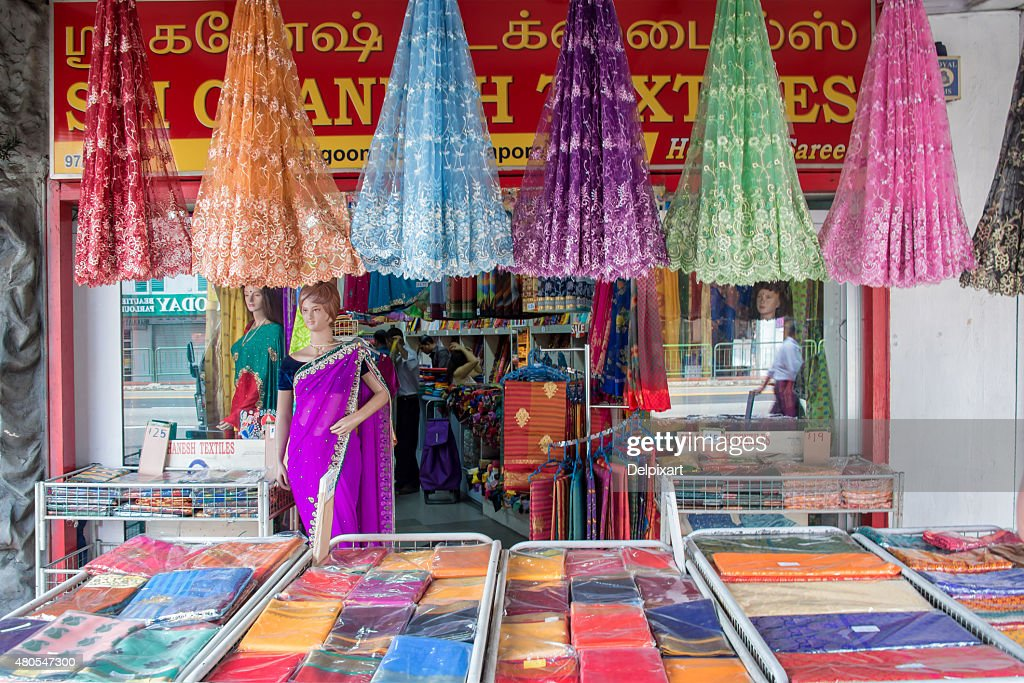 Indian colorful fabric and clothes shop in Little India, Singapore : Stock Photo