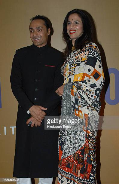 Indian columnist and novelist Shobhaa De with bollywood actor Rahul Bose during a music concert for 'EQUATION 2013A FUNDRAISER FOR EQUALITY' which is...