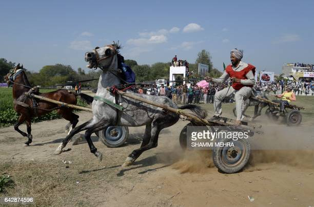 Indian competitors take part in a horse and cart race during the last day of the Kila Raipur Games popularly known as the Rural Olympics at Kila...
