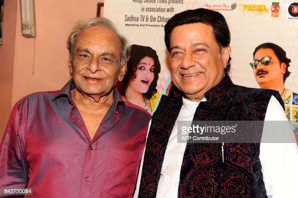 Indian composer Anandji and Bhajan singer Anup Jalota attends the music launch of the upcoming Hindi film Mr Kabaadi in Mumbai on September 4 2017 /...