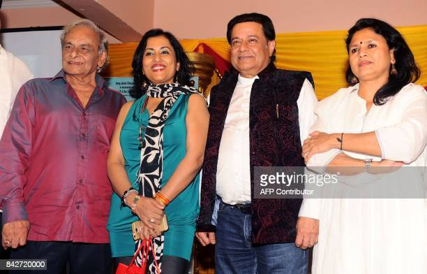 Indian composer Anandji playback singer Madhushree Bhajan singer Anup Jalota attend the music launch of the upcoming Hindi film Mr Kabaadi directed...
