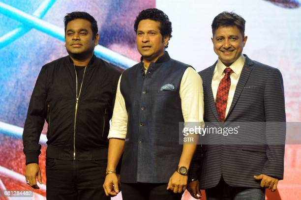 Indian composer singer and musician AR Rahman former Indian cricketer Sachin Tendulkar and Bollywood playback singer Sukhawindar Singh pose for a...