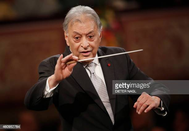 Indian conducter Zubin Mehta performs with the Vienna Philharmonic Orchestra during the New Year's Concert at the Golden Hall of the Musikverein on...
