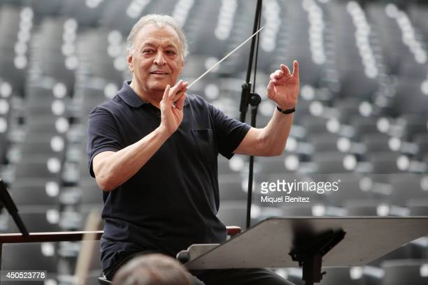 Indian conductor Zubin Mehta performs on stage during the 'Second Jardins de Pedralbes Festival' on June 12 2014 in Barcelona Spain