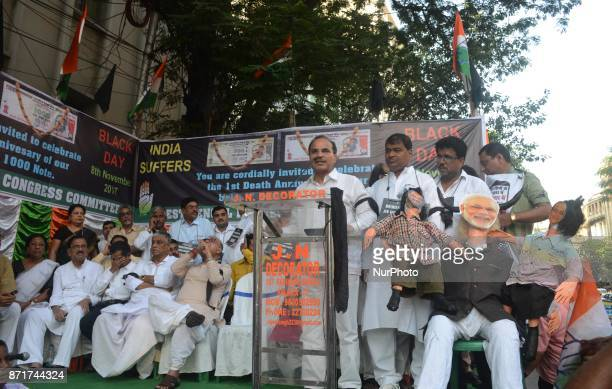 Indian Congress activists protesting against the central government decision on the eve of first anniversary of demonetisation in Kolkata India on...