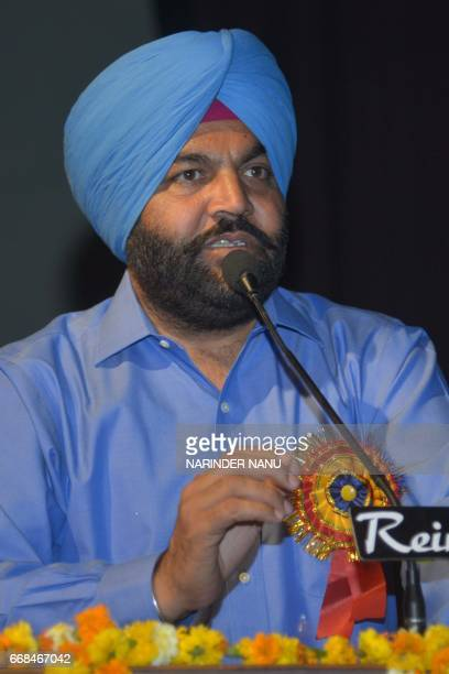 Indian Congress Party Member of Parliament Gurjeet Singh Aujla gestures as he addresses an audience during a 'Sports Awards Day ' function at BBK DAV...