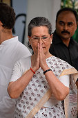 Indian Congress Party President Sonia Gandhi gestures during the flagoff of the three day Bus Yatra '27 Saal UP Behaal' in the runup to the 2017...