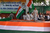 Indian Congress Party President Sonia Gandhi walks onto the stage to flag off the three day Bus Yatra '27 Saal UP Behaal' in the runup to the 2017...