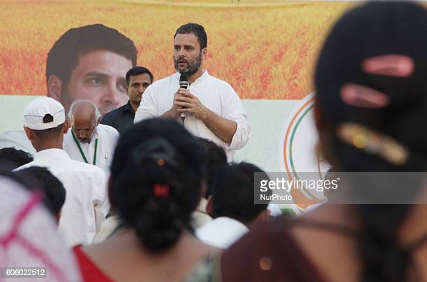 Indian Congress party's vice president and leader Rahul Gandhi addresses a public meeting popularly known as Khaat Panchayats where organizers make...