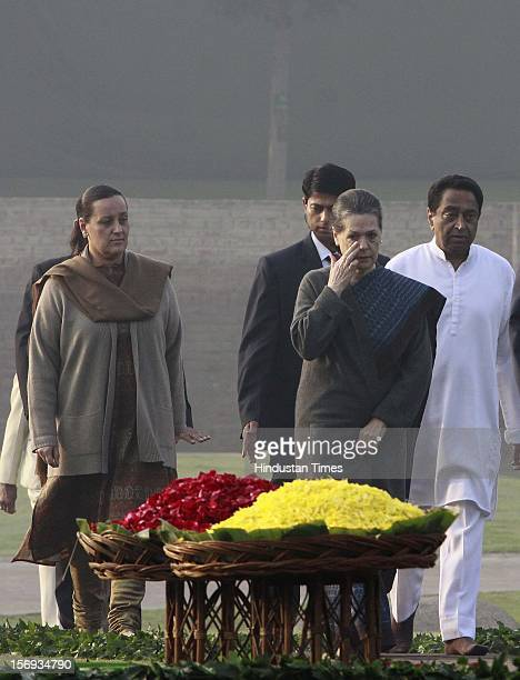 Indian congress President Sonia Gandhi arrive for paying tributes to Indira Gandhi on her 95th birth anniversary at her memorial Shakti Sthal on...