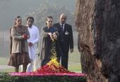 Indian congress President Sonia Gandhi paying tributes to Indira Gandhi on her 95th birth anniversary at her memorial Shakti Sthal on November 19 in...