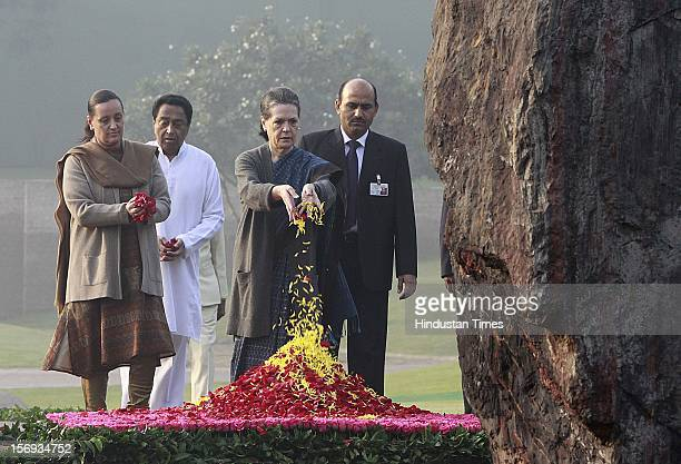 Indian congress President Sonia Gandhi paying tributes to Indira Gandhi on her 95th birth anniversary at her memorial Shakti Sthal on November 19 in...