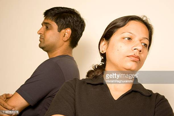 Indian Couple after fight argument People Female Male Husband Wife