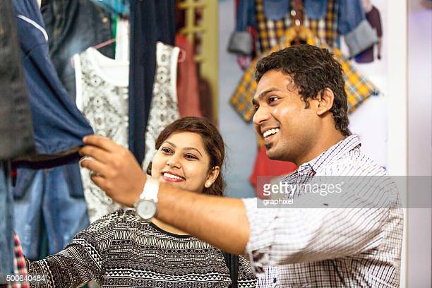 Indian Couple Shopping in Mall