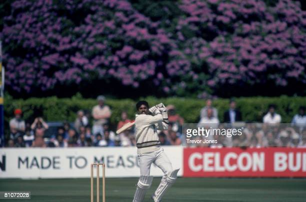 Indian cricket captain Kapil Dev during his record innings of 175 not out off 138 balls against Zimbabwe in the Cricket World Cup at Nevill Ground...