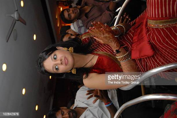 Indian cricket captain Mahendra Singh Dhoni's newly wedded wife Sakshi Singh Rawat at the felicitation ceremony of the Chennai Super Kings the winner...