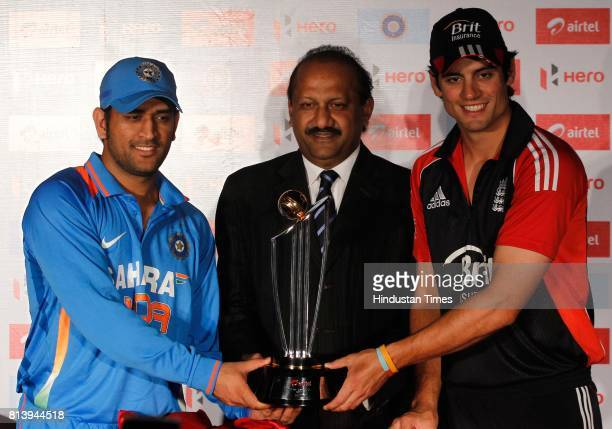 Indian cricket captain MS Dhoni Sharlin Thayil Ceo Bharti Airtel and England cricket captain Alastair Cook unveiling the Airtel India England ODI...