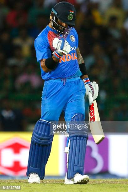 Indian cricket captain Virat kohli gestures after playing a shot during the 1st and only T20 cricket match between Sri Lanka and India at R Premadasa...