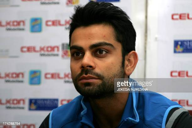 Indian cricket captain Virat Kohli gives a press conference on July 23 2013 in Harare ahead of a 5 match ODI series in Zimbabwe AFP PHOTO / Jekesai...