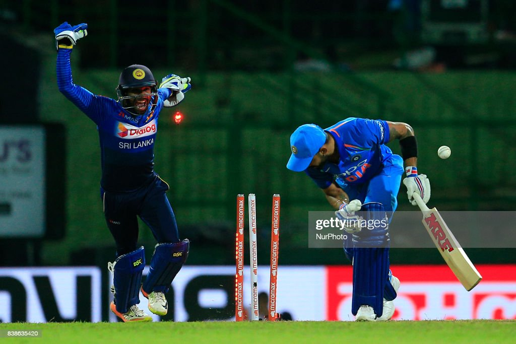 Indian cricket captain Virat Kohli is bowled out during the 2nd One Day International cricket match between Sri Lanka and India at the Pallekele international cricket stadium at Kandy, Sri Lanka on Thursday 24 August 2017.