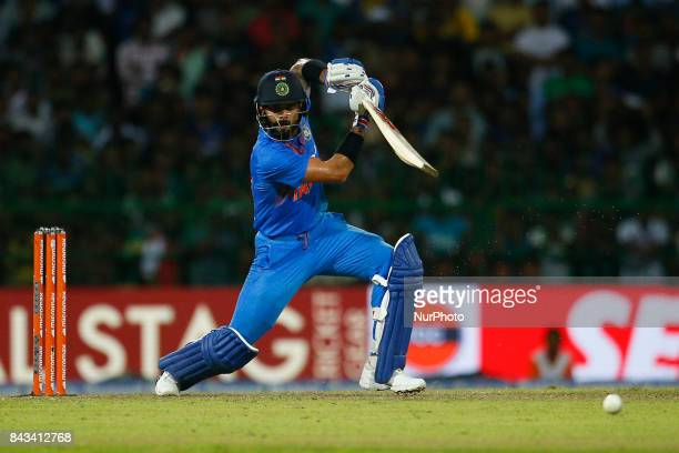 Indian cricket captain Virat kohli plays a shot during the 1st and only T20 cricket match between Sri Lanka and India at R Premadasa International...