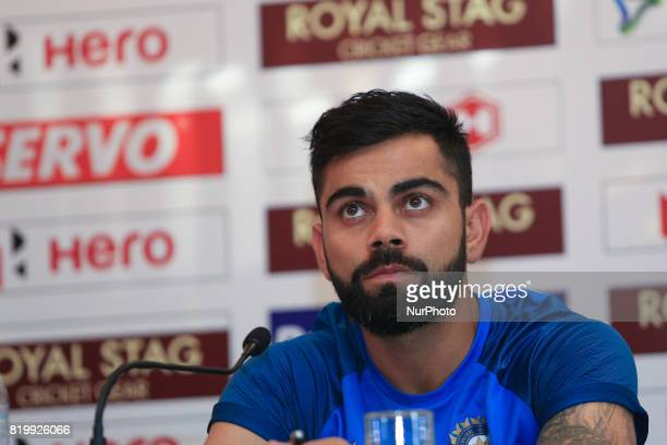 Indian cricket captain Virat Kohli speaks during a press conference at Colombo Sri Lanka on Thursday 20 July 2017 India will play 3 test matches 5...