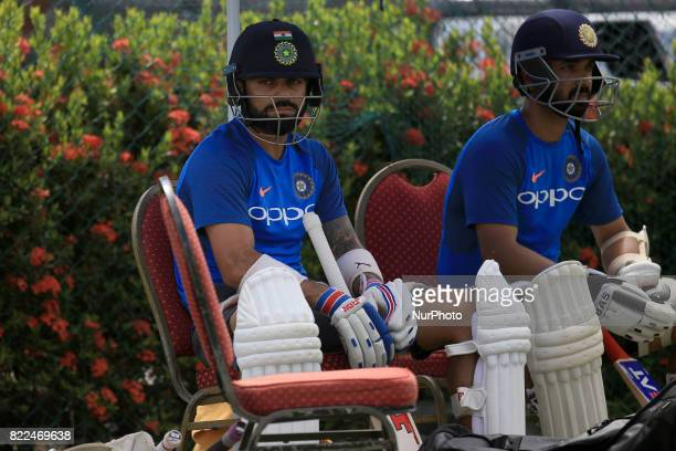 Indian cricket captain Virat Kohli takes part in a practice session ahead of the 1st test match between Sri Lanka and India at Galle International...