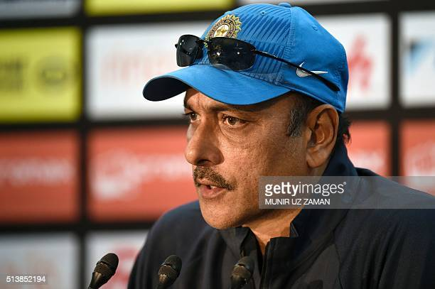Indian cricket coach Ravi Shastri speaks during a press conference prior to a training session at The ShereBangla National Cricket Stadium in Dhaka...