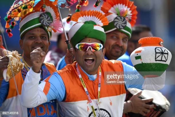 Indian cricket fan cheers during the ICC Champions Trophy match between India and Pakistan at Edgbaston on June 4 2017 in Birmingham England