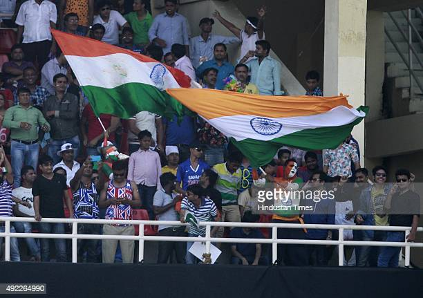 Indian cricket fans during the first One Day International match between India vs South Africa at Green Park Stadium on October 11 2015 in Kanpur...