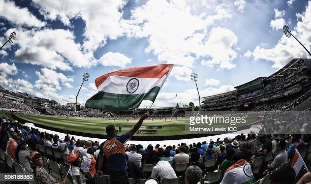 Indian cricket fans show their support during the ICC Champions Trophy Semi Final match between Bangladesh and India at Edgbaston on June 15 2017 in...