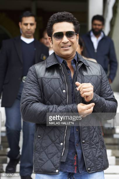 Indian cricket legend Sachin Teldulkar arrives for a photocall at the Oval cricket ground in south London on May 6 promoting the upcoming release of...